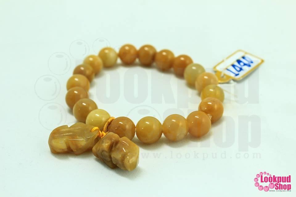 ข้อมือเอ็นยืด หินหยกน้ำผึ้ง จี้ปี่เซียะคู่ 10มิล (1เส้น)