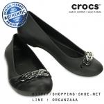 W8 (25 cm.) : Crocs Gianna Link Flat - Black / Silver ของแท้ Outlet ไทยและอเมริกา