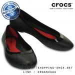 W8 (25 cm.) : Crocs Lina Shiny Flat - Black / Black ของแท้ Outlet ไทยและอเมริกา