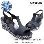 W8 (25.5 cm.) : Crocs Women's A-Leigh Ikat Wedge - Black / Black ของแท้ Outlet ไทยและอเมริกา