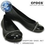 W6 (23 cm.) : Crocs Women's Cap Toe Rhinestone Flat - Black ของแท้ Outlet ไทยและอเมริกา