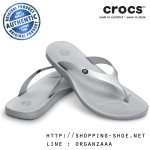 W8 (26 cm.) : Crocs Ocean Minded Malia Metallic - Silver ของแท้ Outlet ไทยและอเมริกา