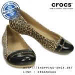 W8 (25 cm.) : Crocs Cap Toe Leopard Print Flat - Black / Gold ของแท้ Outlet ไทยและอเมริกา