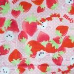 ผ้าคอตตอนลินิน ญี่ปุ่นลายกระต่าย Mofy กัยบ สตรอเบอรี่ สีชมพูสดใส ผ้าเนื้อหนา นิ่ม เหมาะกับงานผ้าทุกชนิด