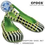 W9 (25.5 cm.) : Crocs Kadee MONDO Chevron Flat - Volt Green ของแท้ Outlet ไทยและอเมริกา