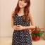 SALE//SALE (ส่งฟรี) ชุดเดรส สไตล์เกาหลี แขนกุด ผ้าซาติน สีน้ำเงิน ลายจุดขาว แบบสวยน่ารัก thumbnail 2