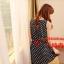 SALE//SALE (ส่งฟรี) ชุดเดรส สไตล์เกาหลี แขนกุด ผ้าซาติน สีน้ำเงิน ลายจุดขาว แบบสวยน่ารัก thumbnail 8