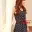 SALE//SALE (ส่งฟรี) ชุดเดรส สไตล์เกาหลี แขนกุด ผ้าซาติน สีน้ำเงิน ลายจุดขาว แบบสวยน่ารัก thumbnail 5