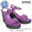 W7 (24 cm.) : Crocs Women's Leigh Sandal Wedge - Wild Orchid / Charcoal ของแท้ Outlet ไทยและอเมริกา thumbnail 1