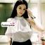 เสื้อผ้าแฟชั่น เสื้อทำงาน ผ้าฮานาโกะ สีนู้ด แขนกุด แต่งระบายอก สวยเปรี้ยวปนหวาน เว้าไหล่ แบบสวยมากๆค่ะ thumbnail 5