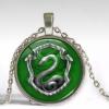 Silver Slytherin crystal necklace