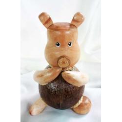 Coconut Shell Piggy Savings (ออมสินกะลามะพร้าวรูปหมู)