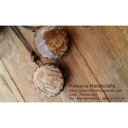 กระเป๋ากะลามะพร้าว ใส่เหรียญ รูปช้าง ห้อยคอ