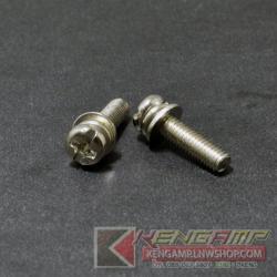 น๊อตตัวผู้หัวกลมมี แหวนและตัวกันน๊อตคลาย M3x12mm (100pcs)