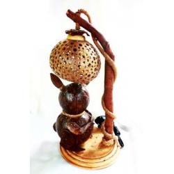 Coconut Shell Lamp(Rabbit and Moon) (โคมไฟกะลามะพร้าวกระต่ายหมายจันทร์)
