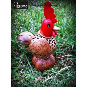 โคมไฟกะลามะพร้าวรูปไก่หัวแดง