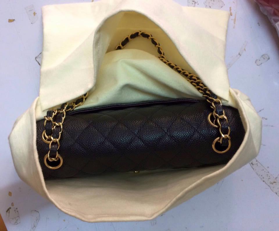 ถุงผ้าสำลีเก็บกระเป๋า Chanel 9 และ 10 นิ้ว