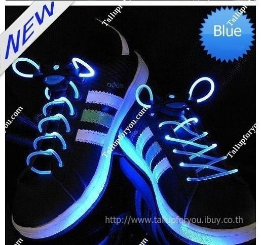 เชือกผูกรองเท้าไฟกระพริบ LED สีน้ำเงิน รหัส LD001