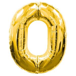 """ลูกโป่งฟอยล์รูปตัวเลข 0 สีทอง ไซส์จัมโบ้ 40 นิ้ว - Number 0 Shape Foil Balloon Size 40"""" Gold Color"""