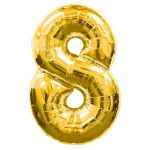 """ลูกโป่งฟอยล์รูปตัวเลข 8 สีทอง ไซส์เล็ก 14 นิ้ว - Number 8 Shape Foil Balloon Size 14"""" Gold Color"""