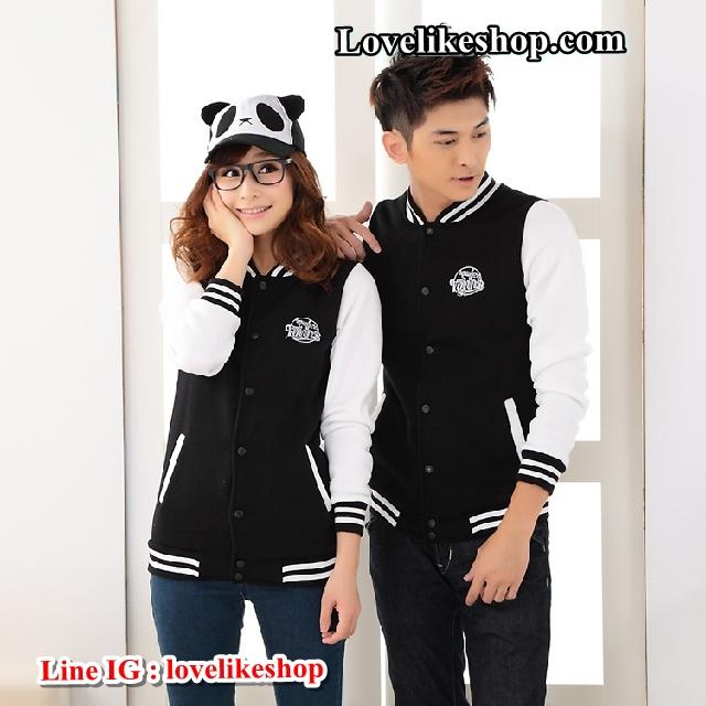 เสื้อกันหนาวคู่รักพร้อมส่ง ชุดคู่รัก พร้อมส่ง ชาย +หญิงเสื้อกันหนาวคู่รัก แบบติดกระดุม สีดำแขนสีขาว