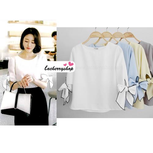 เสื้อแฟชั่นผ้าฮานาโกะ แบบสวยเรียบหรู สีขาว แขนสามส่วนผูกโบว์ สไตล์เกาหลีน่ารักๆ ผ้าฮานาโกะเนื้อดี ใส่สบาย ใส่ทำงาน ใส่เที่ยวได้ทุกโอกาส