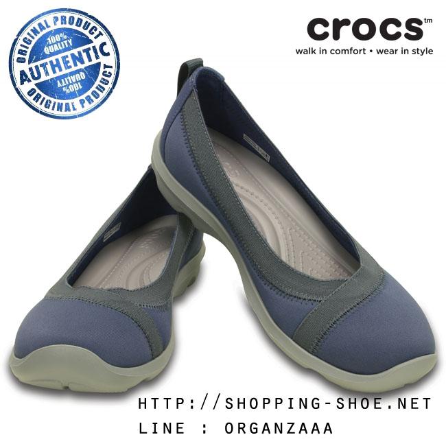 W7 (24 cm.) : Crocs Busy Day Stretch Flat - Bijou Blue ของแท้ Outlet ไทยและอเมริกา