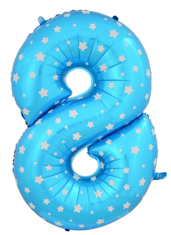 """ลูกโป่งฟอยล์รูปตัวเลข 8 สีฟ้าพิมพ์ลายดาว ไซส์จัมโบ้ 40 นิ้ว - Number 8 Shape Foil Balloon Size 40"""" Blue Color printing Star"""