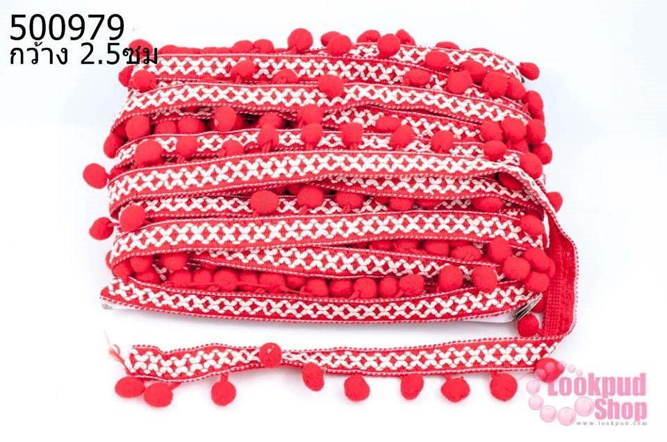ปอมเส้นยาว ผ้าแถบ สีแดง กว้าง 2.5ซม(1พับ/20หลา)