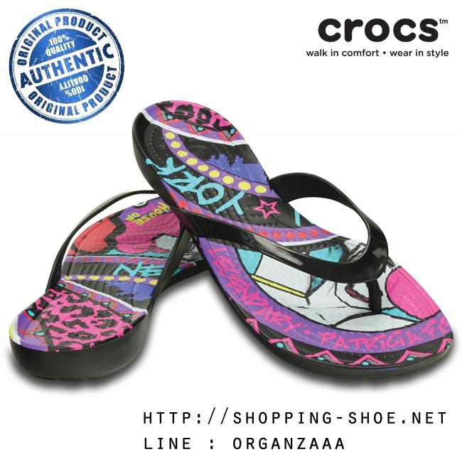 W7 (24 cm.) : Crocs Really Sexi House of Field Flip - Black ของแท้ Outlet ไทยและอเมริกา