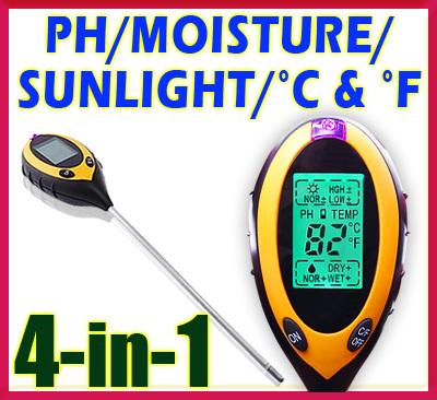 เครื่องวัดค่ากรดด่างในดิน เครื่องวัดกรดด่าง มิเตอร์วัดค่ากรดด่าง 4in1 pH Moisture Light Soil Meter Thermometer °C °F