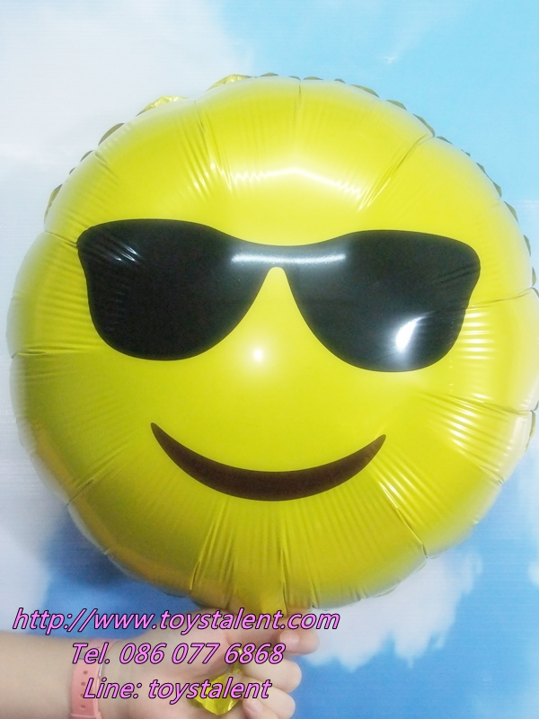 ลูกโป่งฟลอย์กลมสีเหลือง พิมพ์ลายหน้ายิ้ม (ใส่แว่น) TL-A140 ไซส์ 18 นิ้ว/Item No.TL-A140