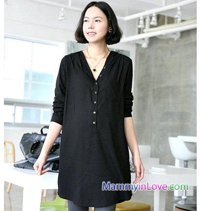 เสื้อเชิ้ตคลุมท้องแขนยาว มีฮู้ด : สีดำ รหัส SH054