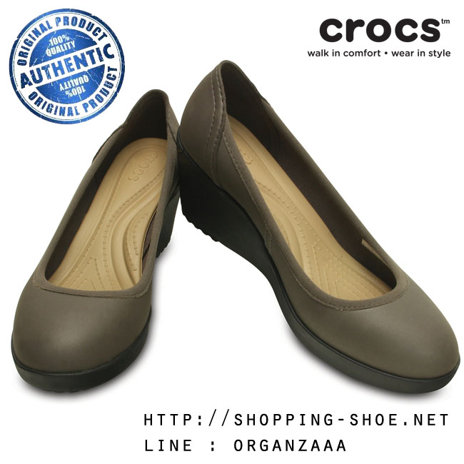 W6 (23.5 cm.) : Crocs Women's Marin ColorLite Wedge - Pewter / Black ของแท้ Outlet ไทยและอเมริกา