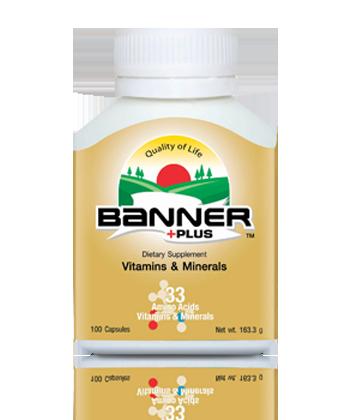 Banner Plus แบนเนอร์พลัส เหมาะกับผู้ที่อ่อนเพลีย ทำงานหนัก รับประทานอาหารไม่ครบห้าหมู่ เหมาะกับผู้ที่ต้องการดูแลสุขภาพเสริมวิตามินแร่ธาตุ ผลิตภัณฑ์นี้ใช้กรดอะมิโนแอซิด รวม 18 ชนิด ผสมวิตามินและแร่ธาตุ รวม 33 ชนิด 100 แคปซูล