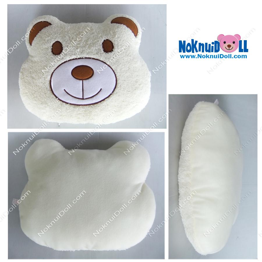 หมอนอิงตุ๊กตา หัว หมี ผ้าขนหนู เล็ก-กว้าง16นิ้ว