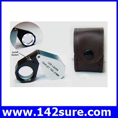 DLT001 กล้องส่องพระ (ระดับเซียนพระ) กล้องส่องจิวเวอร์รี่ กล้องส่องนาฬิกา พร้อมไฟLED ขนาดขยาย 10X LED Loupe Triplet 21mm ยี่ห้อ OEM รุ่น 10X