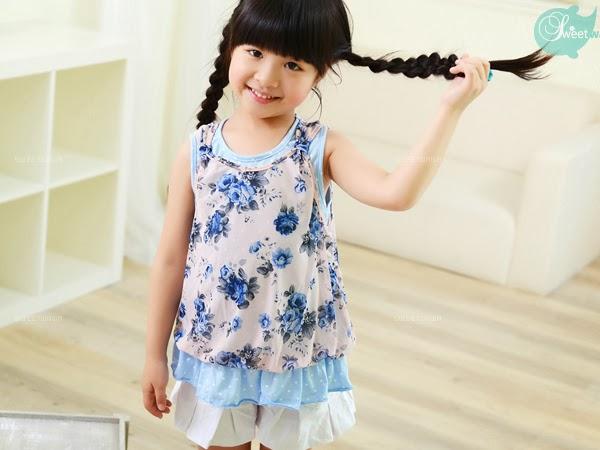 เสื้อเด็กผู้หญิง สีฟ้า ลายดอกไม้