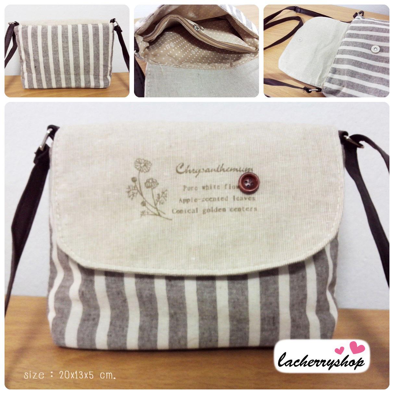 (หมดจ้า) กระเป๋าผ้า แฮนด์เมด ญี่ปุ่น ลายทาง สีน้ำตาล วินเทจ สายหนังสะพายไหล่ สวยเก๋ (ขายปลีก 200,ขายส่ง 3 ชิ้นๆละ 150 บาท คละได้ทุกแบบ)