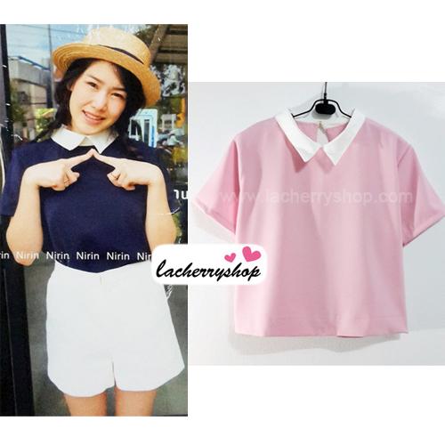 เสื้อแฟชั่น เสื้อทำงาน ผ้าฮานาโกะ สีชมพู พาสเทล สดใส คอปกเก๋ๆ แบบยอดนิยม สินค้าคุณภาพ ราคาไม่แพง