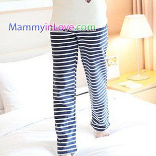 กางเกงคลุมท้องขายาว ลายขวาง : สีน้ำเงิน-ขาว รหัส PN098