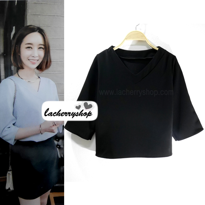 เสื้อผ้าแฟชั่น เสื้อทำงานสีดำ สไตล์เกาหลี คอวี แขนสามส่วน ผ้าฮานาโกะ แบบสวยเรียบหรู ใส่ได้ทุกโอกาส คุณภาพดี ราคาไม่แพง