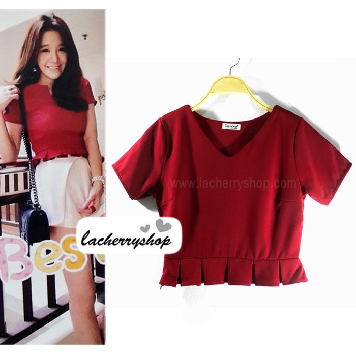 เสื้อแฟชั่น ผ้าฮานาโกะ สีแดง แต่งระบายเอวน่ารักๆ สินค้าคุณภาพ ราคาไม่แพง