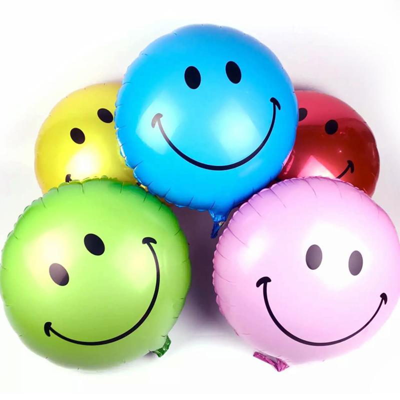 ลูกโป่งฟลอย์ทรงกลม หน้ายิ้ม ไซส์ 18 นิ้ว *มีหลายสีให้เลือกกรุณาระบุ* - Round Shape Smiley Face Foil Balloon / Item No.TL-G049