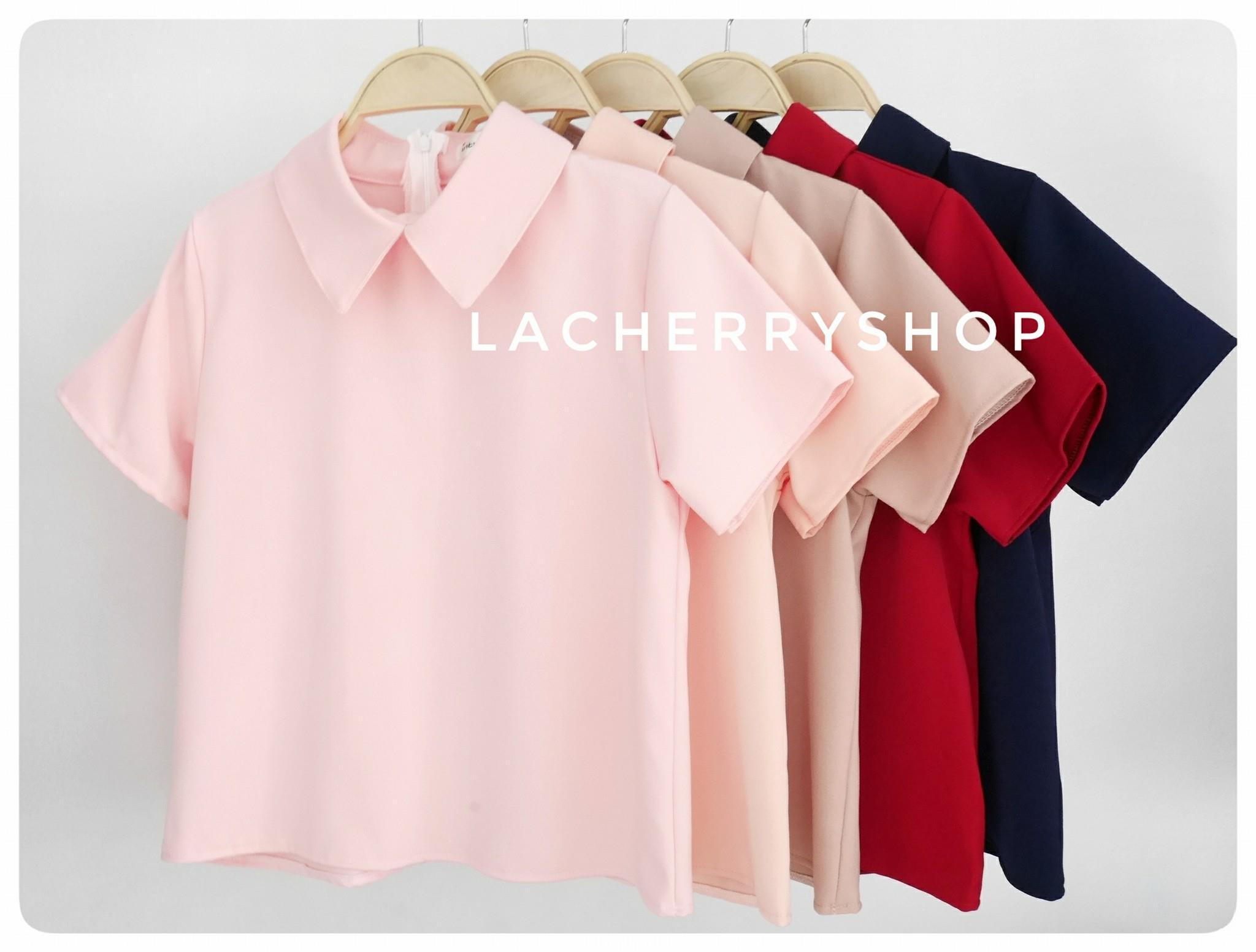 เสื้อแฟชั่นผ้าฮานาโกะ (สีชมพู) รุ่นปกแหลม แบบสวยเก๋ สีพื้น แมทง่าย ใส่สบาย ไม่มีเอ้าท์