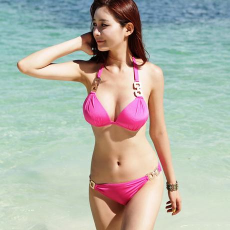 พร้อมส่ง ชุดว่ายน้ำบิกินี่ทูพีซ สีชมพู บรา+บิกินี่แต่งห่วงเหล็กสวย
