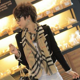 ผ้าพันคอแฟชั่นสไตส์เกาหลี ลายสก็อตโทนสีกาแฟ ผ้าชีฟอง ผ้านุ่ม ดีไซต์เก๋ไก๋ ใส่แล้วดูดีมีสไตส์