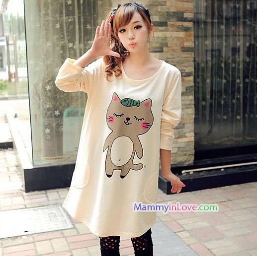 เสื้อคลุมท้องแขนยาว ลายแมวน้อยยิ้มแก้มแดง : สีครีม รหัส SH201
