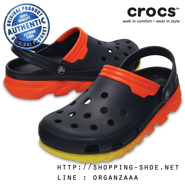 M10/W12 (28 cm.) : Crocs Duet Max Ombre Clog - Navy / Orange ของแท้ Outlet ไทยและอเมริกา