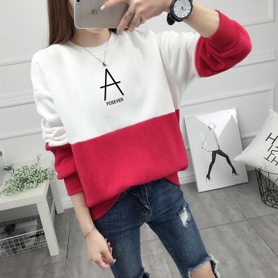 เสื้อแขนยาวแฟชั่นพร้อมส่ง เสื้อแขนยาวแต่งสีขาวสลับแดง แต่งสกรีนตัวอักษร A +พร้อมส่ง+